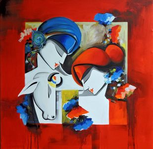 loving couple by pradeesh k raman, Expressionism Painting, Acrylic on Canvas, Maroon color
