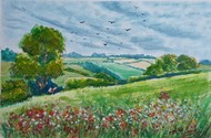 Sunny Sky and Wildflowers by Ajay Anand, Illustration Painting, Watercolor on Paper, Olive color