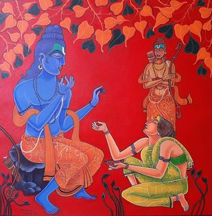 Tasted Berries by Ramana Peram , Illustration Painting, Acrylic on Canvas, Maroon color