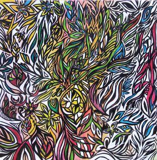 Harmony by Shveta Saxena, Abstract Painting, Acrylic on Canvas, Gray color