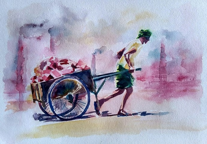 Labour by Rajesh Sunkara , Illustration Painting, Ink/ watercolour/acrylic on handmade paper, Silver color