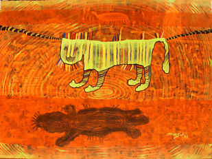 The village life by Lakhan Singh Jat, Abstract Painting, Acrylic on Paper, Orange color