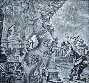 Poetry on Rocks by Sreenivasa Ram Makineedi, Illustration Painting, Mixed Media on Canvas, Gray color