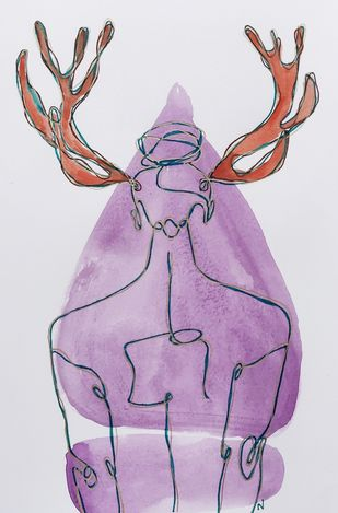 Burnished in the fiercest of flames by Nadine D'Souza, Abstract Painting, Watercolor & Ink on Paper, Fuchsia color