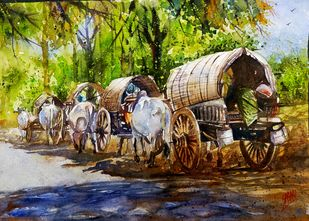 Convey by Sabari Girish T, Illustration Painting, Watercolor on Paper, Olive color