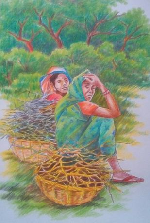 A Little Rest by Subhasis Palodhi, Illustration Painting, Color Pencil on Paper, Gray color