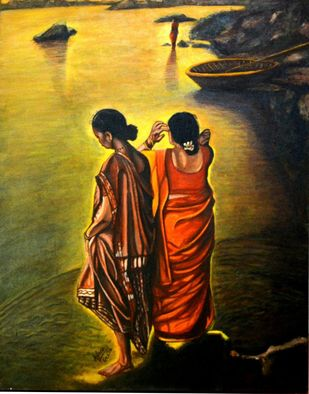 Immersing in Divinity by Asha Shetty, Illustration Painting, Acrylic on Canvas, Black color