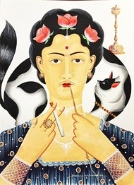 Kali-Kahlo with hookah, cigarette and cat by Bhaskar Chitrakar, Traditional Painting, Natural colours on paper, Orange color