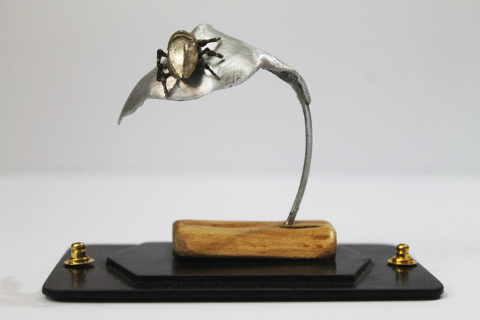 Steampunk Beetle 1 by Nikhil Dayanand, Art Deco Sculpture   3D, Metal, Silver color