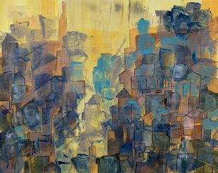 Cityscape by Amit Pithadia, Abstract Painting, Acrylic on Canvas, Gray color