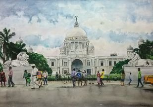 Victoria memorial by Pranab K. Dhal , Illustration Painting, Pen, pencil, watercolour on paper, Silver color
