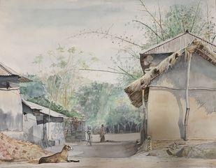 Santiniketan villages by Pranab K. Dhal , Illustration Painting, Pen, pencil, watercolour on paper, Silver color
