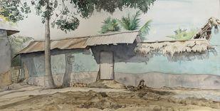 Santiniketan villages 2 by Pranab K. Dhal , Illustration Painting, Pen, pencil, watercolour on paper, Silver color