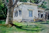 Nature house by Pranab K. Dhal , Illustration Painting, Pen, pencil, watercolour on paper, Gray color
