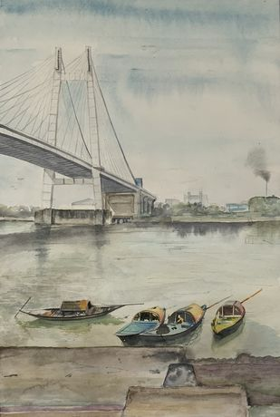 Boats of Princep Ghat by Pranab K. Dhal , Illustration Painting, Pen, pencil, watercolour on paper, Silver color