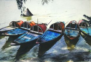 Boats of Princep Ghat 1 by Pranab K. Dhal , Expressionism Painting, Pen, pencil, watercolour on paper, Gray color