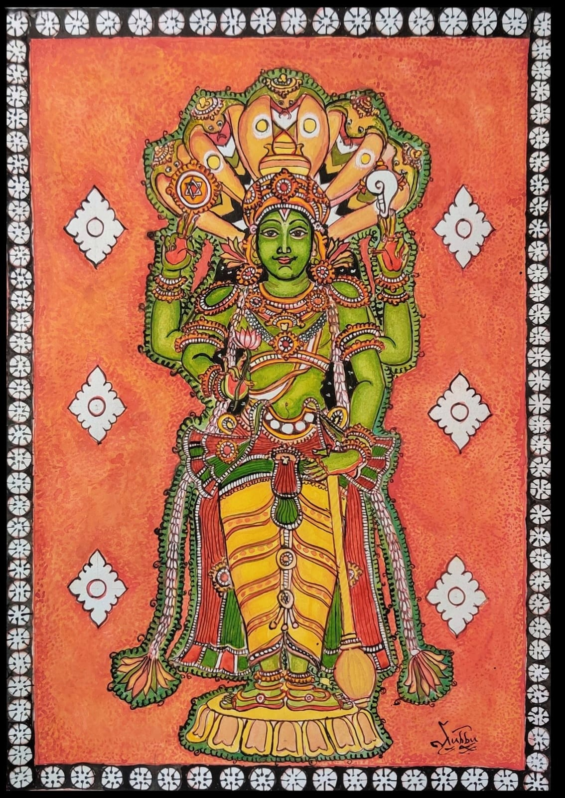 MahaVishnu by Subbaraman Nurani, Traditional Painting, Watercolor on Paper, Orange color