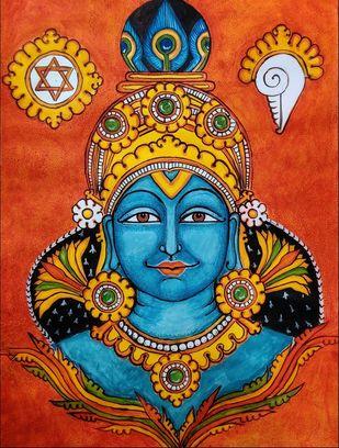 Face of Guruvayurappa - Kerala Mural Style by Subbaraman Nurani, Traditional Painting, Acrylic on Paper, Orange color