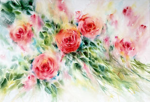 Rose Garden by Nisha Sehjpal, Illustration Painting, Watercolor on Paper, Silver color