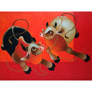 Bulls by H R Das, Expressionism Painting, Acrylic on Canvas, Maroon color