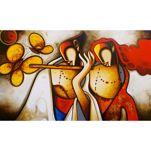 love by Om Swami, Expressionism Painting, Acrylic on Canvas, Orange color