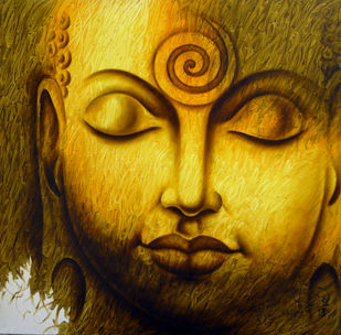 Buddha by prince chand, Expressionism Painting, Oil on Canvas, Maroon color
