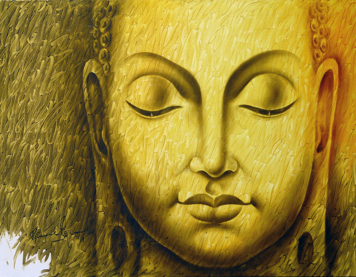 Buddha by prince chand, Expressionism Painting, Oil on Canvas, Orange color