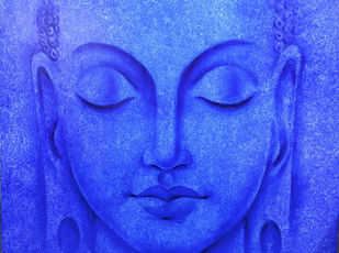 Buddha Blue by prince chand, Expressionism Painting, Oil on Canvas, Blue color