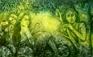 Krishna Gopies by prince chand, Expressionism Painting, Oil on Canvas, Olive color