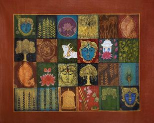 Pichwai Art by Vibha Singh, Traditional Painting, Acrylic on Canvas, Maroon color
