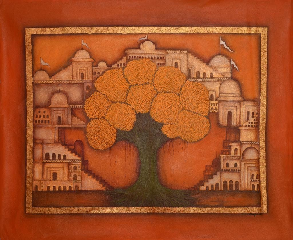 Pichwai kulpwriksha by Vibha Singh, Traditional Painting, Acrylic on Canvas, Orange color