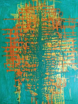 Abstract-1 by Vibha Singh, Abstract Painting, Acrylic on Paper, Green color