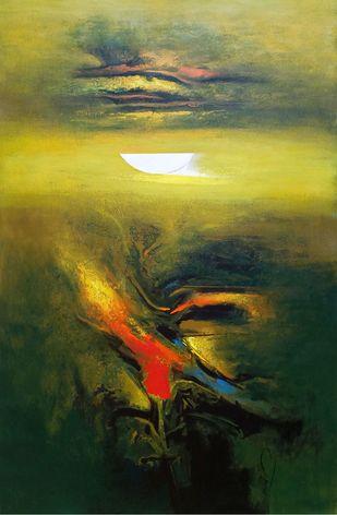 moon-3 by RANJIT SINGH KURMI, Abstract Painting, Acrylic on Canvas, Gray color