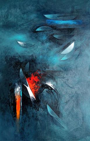 moon-8 by RANJIT SINGH KURMI, Abstract Painting, Acrylic on Canvas, Gray color