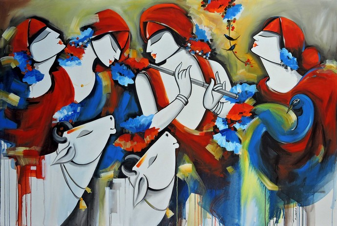 melody2 by pradeesh k raman, Expressionism Painting, Acrylic on Canvas, Silver color