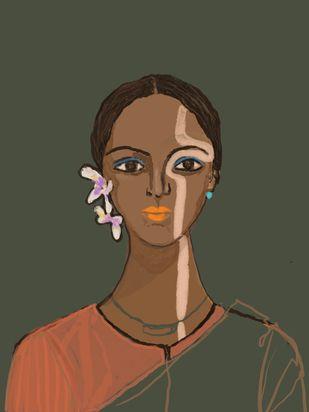 Tejaswini by Simmi Khanna, Digital Digital Art, Digital Print on Paper, Gray color