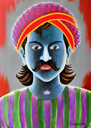 TELUGU TRADITIONAL MAN by Konduru Nageswar rao, Expressionism Painting, Acrylic on Canvas, Gray color