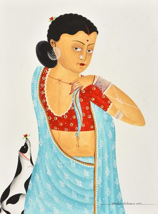 Bibi in saree, Bengali-style by Bhaskar Chitrakar, Traditional Painting, Natural colours on paper, Silver color