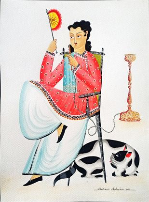 Babu with hookah, fan and cat by Bhaskar Chitrakar, Traditional Painting, Natural colours on paper, Silver color