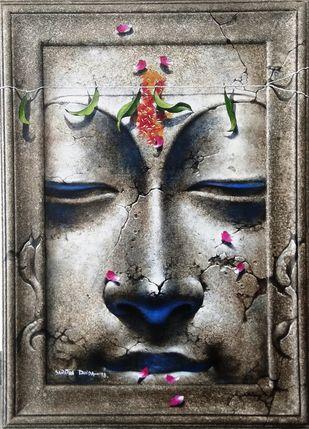 Yugpurush by Sanatan Dinda, Expressionism Painting, Acrylic on Canvas, Gray color