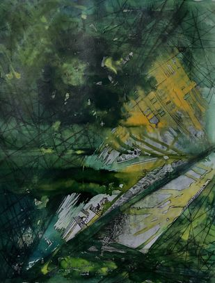 From the shadows by sapna anand, Abstract Painting, Acrylic & Ink on Canvas, Gray color