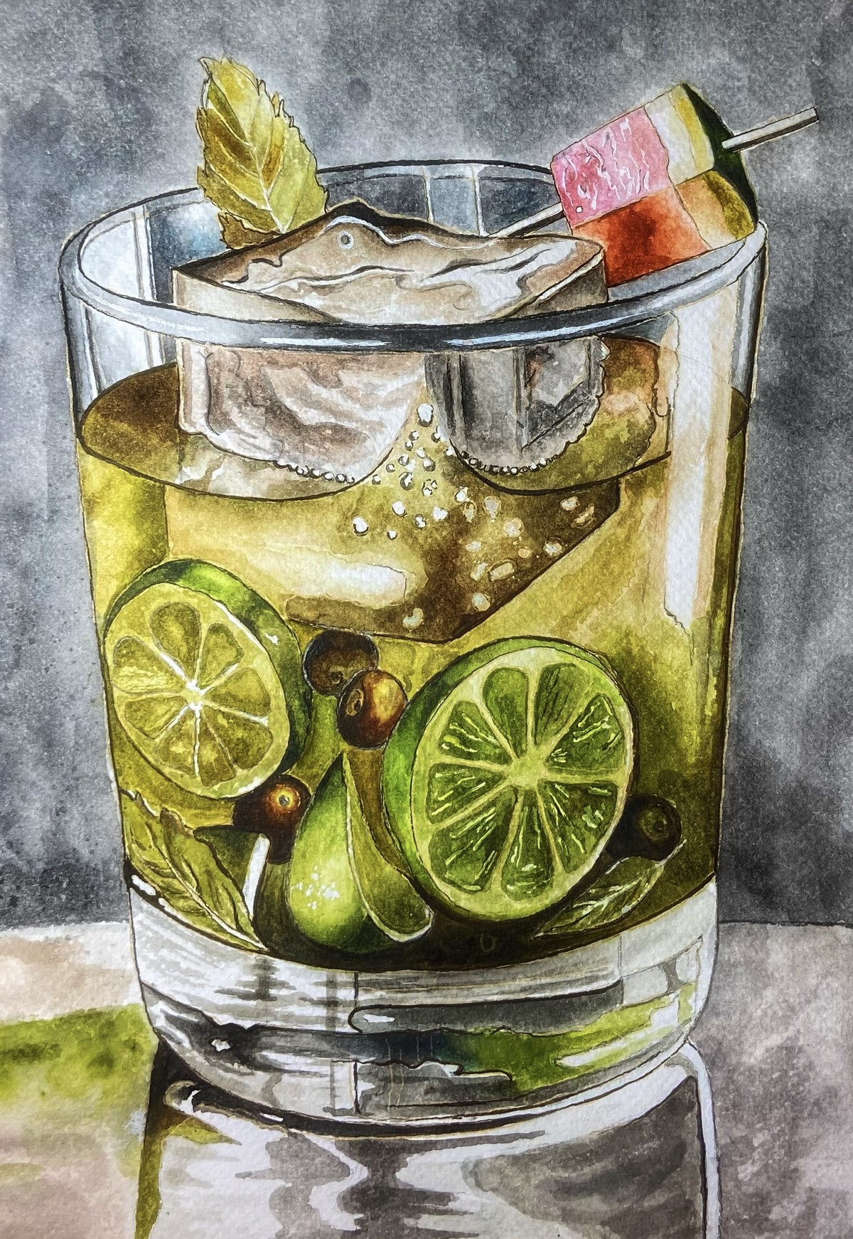 Summer Delight by Ria Das, Realism Painting, Watercolor on Paper, Gray color