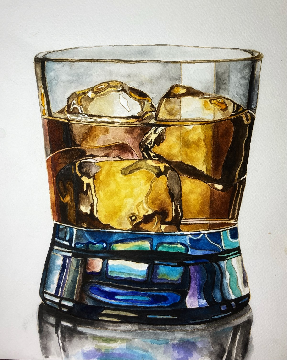Cheers! by Ria Das, Realism Painting, Watercolor on Paper, Silver color