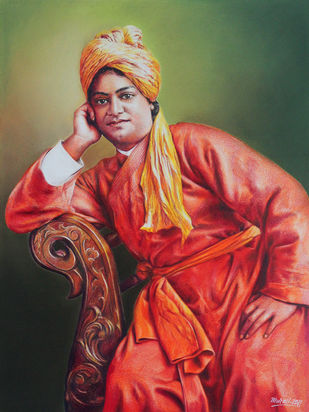 Swami Vivekananda by Muralidhar Suvarna, Illustration Drawing, Color Pencil on Paper, Maroon color