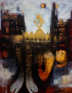 Devotee by Diptendu Bhowal, Abstract, Expressionism Painting, Oil on Canvas, Black color