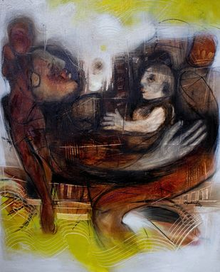 Motherhood by Diptendu Bhowal, Expressionism Painting, Oil on Canvas, Black color