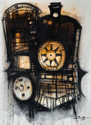 Abolished Black Queen (Locomotive) by Diptendu Bhowal, Expressionism Drawing, Mixed Media on Paper, Black color