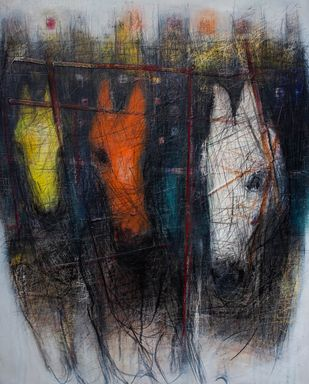 Untitled by Diptendu Bhowal, Abstract Painting, Acrylic on Canvas, Gray color