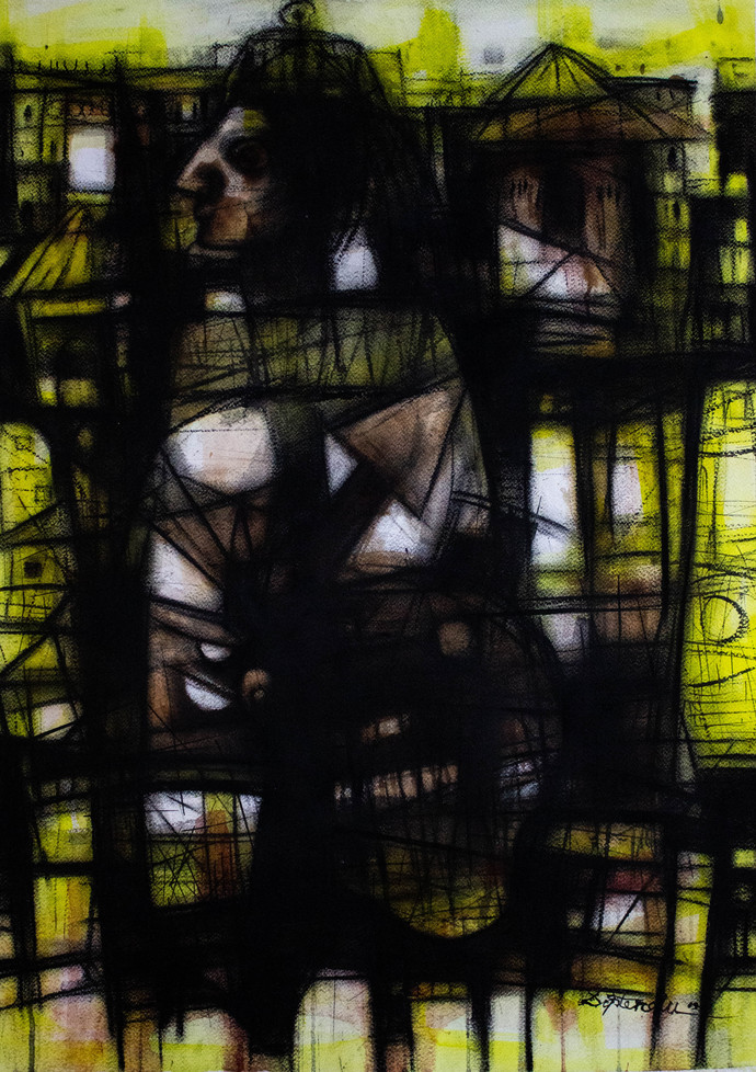 Primitive Man by Diptendu Bhowal, Abstract Drawing, Mixed Media on Paper, Black color