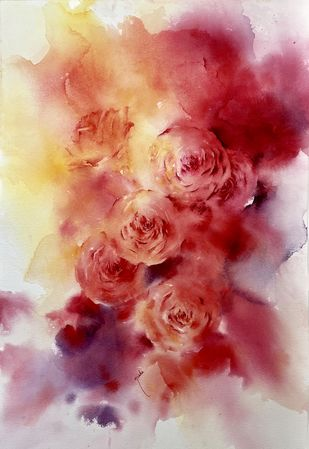 Unveiled Passion by Nisha Sehjpal, Abstract Painting, Watercolor on Paper, Orange color